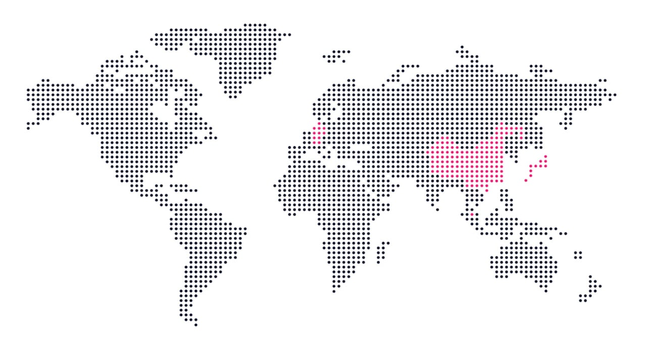 Map of the world with Germany, Japan and China highlighted